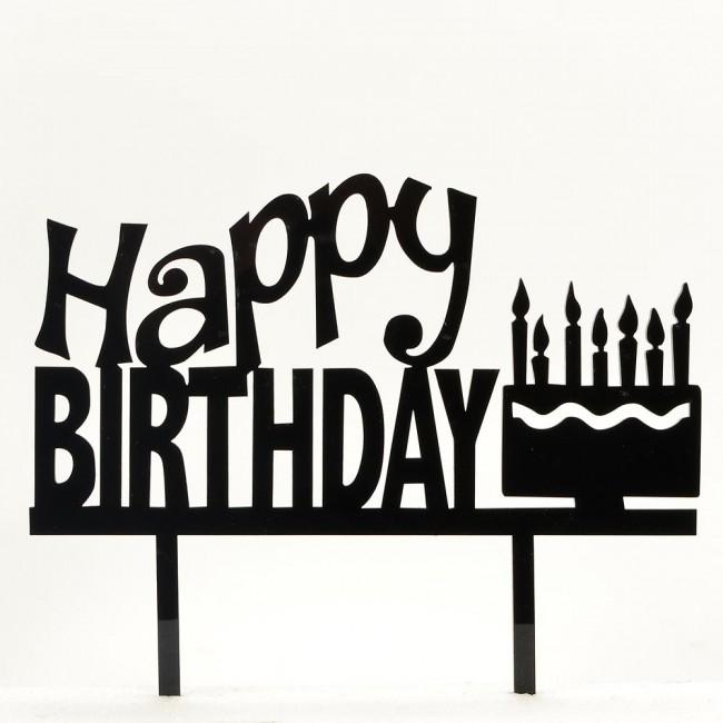 650x650 Black Happy Birthday Acrylic Cake Topper Celebration Decoration