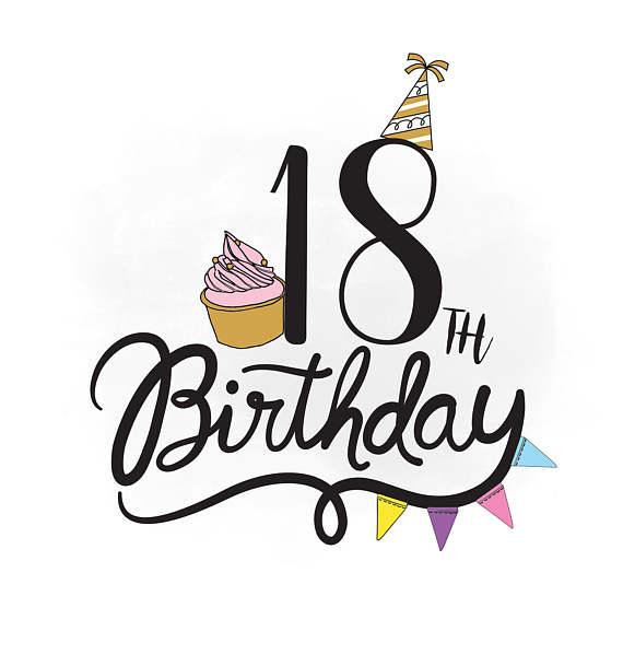570x609 18th Birthday Svg Clipart, Birthday Quote ,cupcake Svg, Birthday