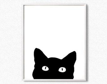 340x270 Black Cat Print Etsy