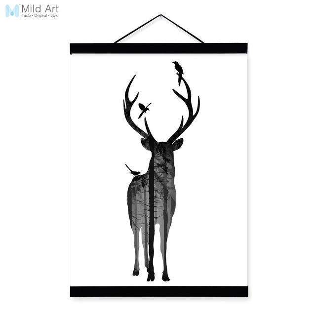 640x640 Deer Bird Black White Nordic Minimalist Animal Silhouette Wood