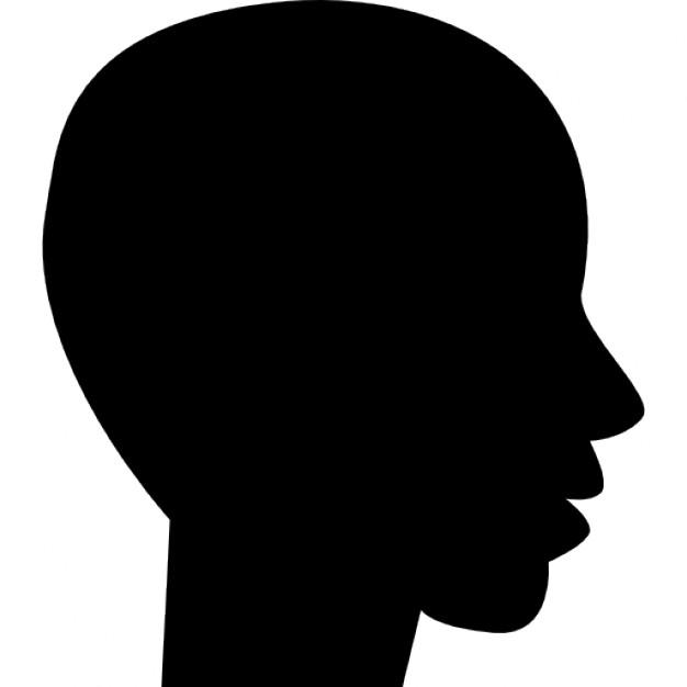 626x626 Head Side View Black Silhouette Of Male Bald Shape Icons Free