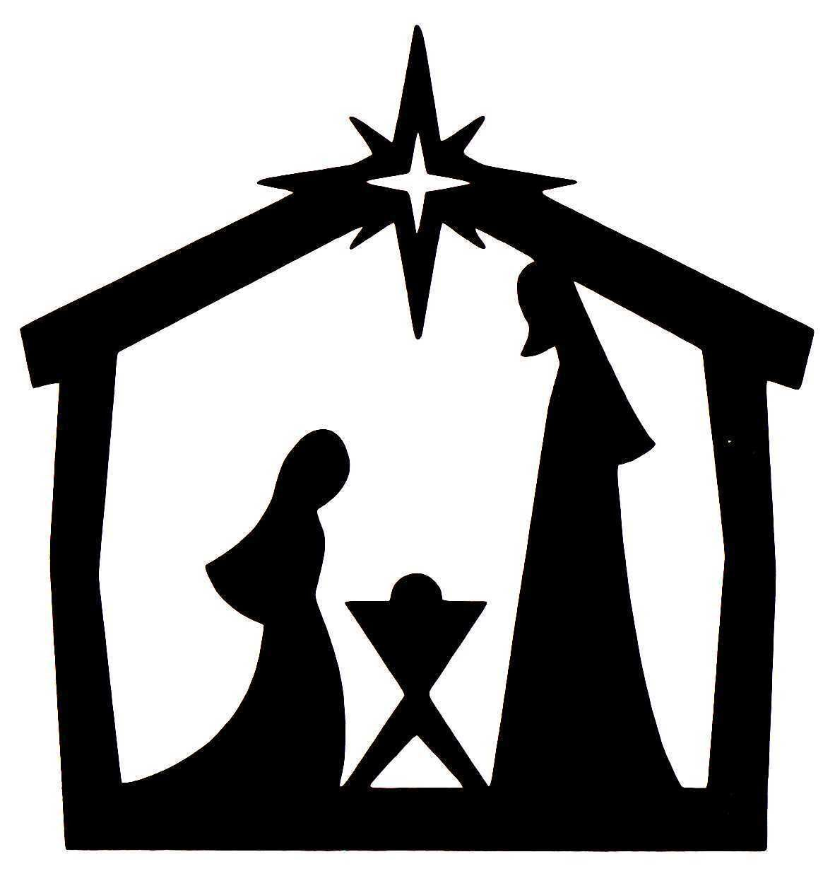 Black And White Nativity Silhouette