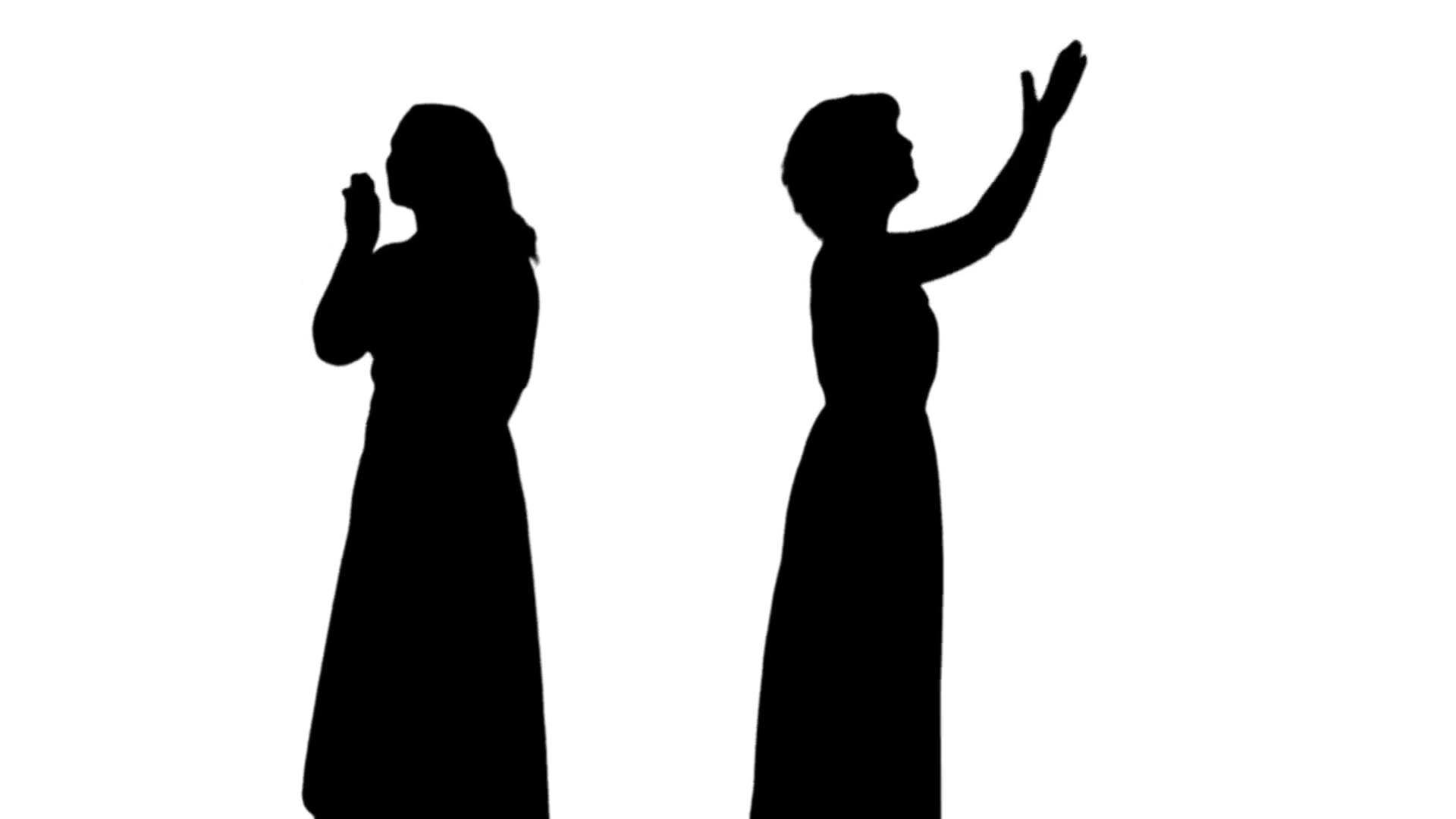 1920x1080 Silhouette Of Two Woman Waving Their Hands To The Audience