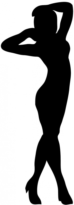 288x795 Standing Woman Black And White Clipart