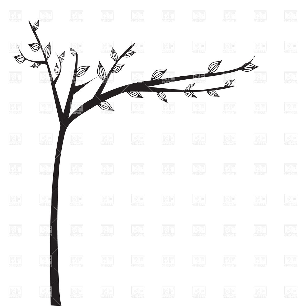 1200x1200 Abstract Black Tree Silhouette Royalty Free Vector Clip Art Image