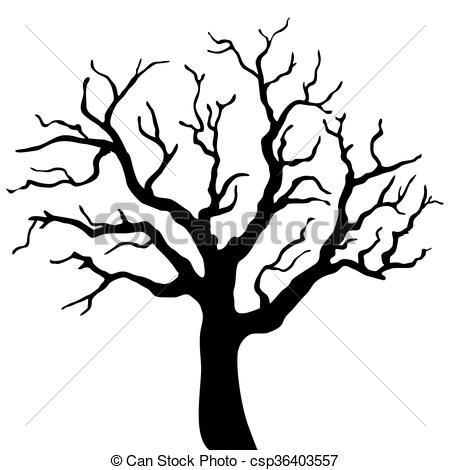 450x470 Tree Black Silhouette Isolated On White Background. Vector