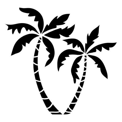 512x512 Black Isolated Palm Tree Silhouette