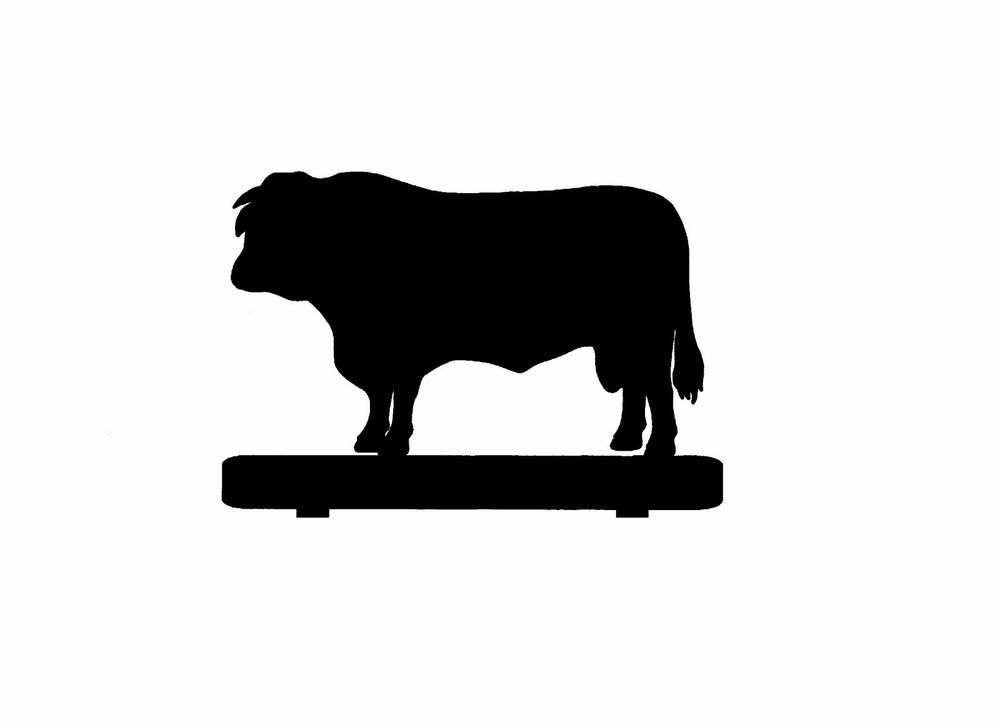 1000x727 Black Angus Cow Mailbox Topper Metal Silhouette 7 Inch Not Painted