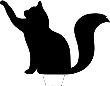 355x278 Novelty Lucky Black Cat Silhouette 12 Edible Stand Up Wafer Paper