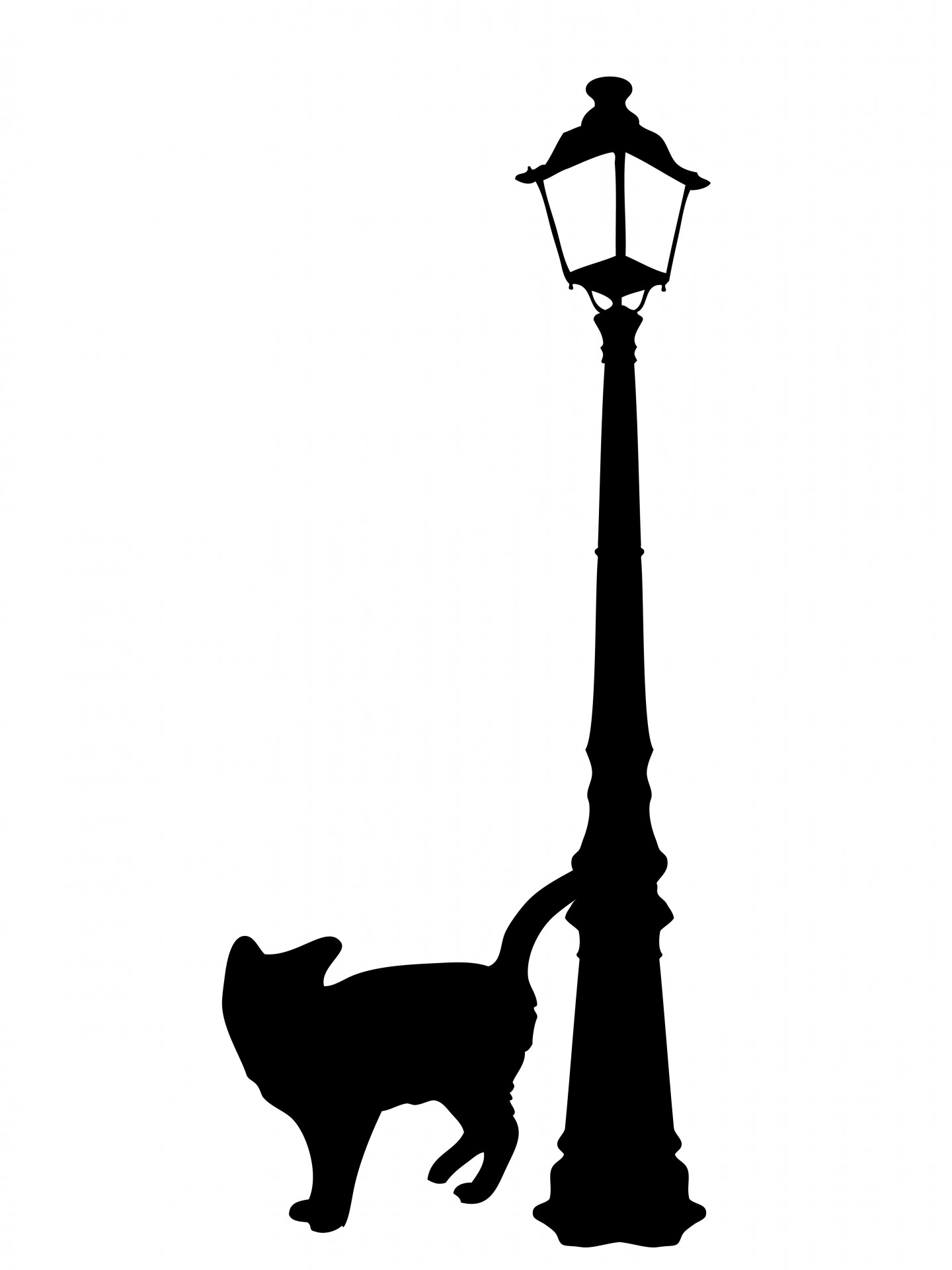 1440x1920 Black Cat Silhouette Clipart Free Stock Photo