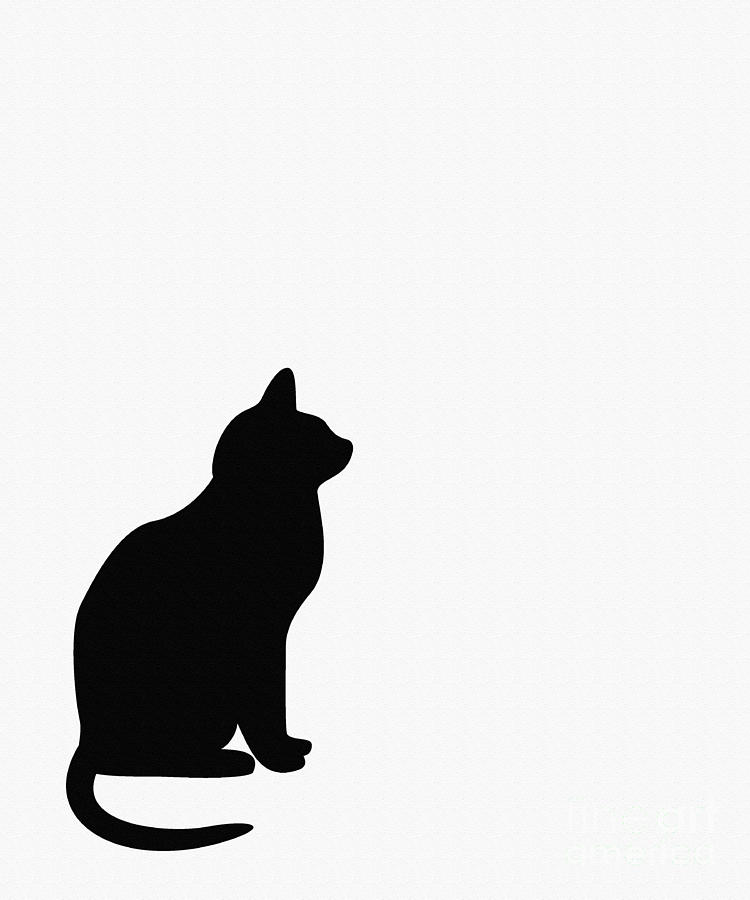 750x900 Black Cat Silhouette On A White Background Digital Art By Barbara