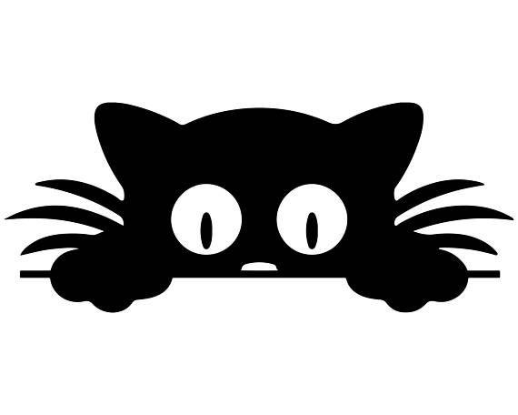 570x456 Peeking Cat Silhouette Clipart