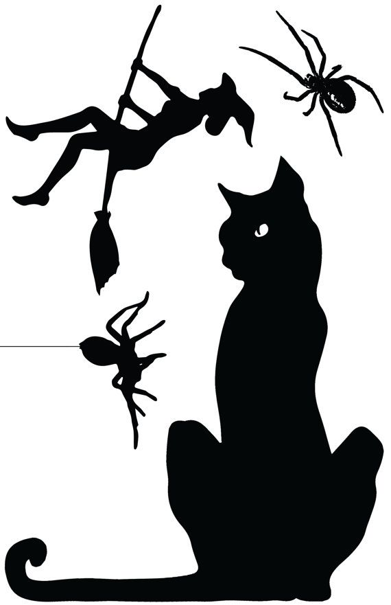 570x881 Ohhh I Love The Black Cat In This One! Halloween Window Cling