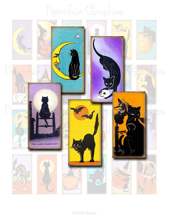 570x738 Vintage Black Cat Digital Collage Sheet, Domino Size 1x2