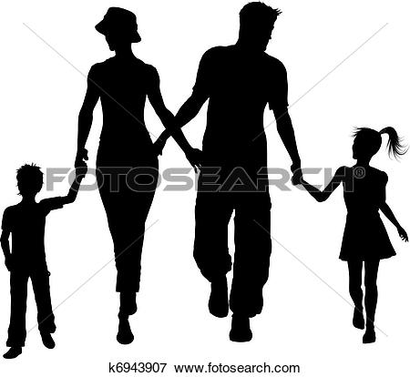 450x414 Family Of 5 Silhouette Clip Art Clipart