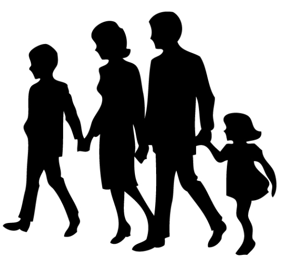 576x523 Family With 6 Children Silhouette Clipart Collection