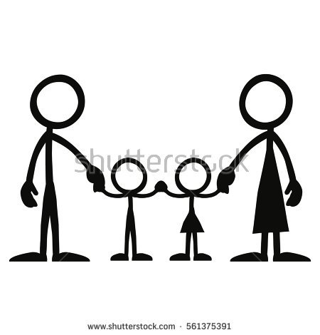 450x470 Stick Family Silhouette Clipart