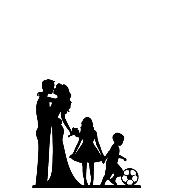 570x633 Wedding Cake Topper Family Silhouette Wedding Cake Topper