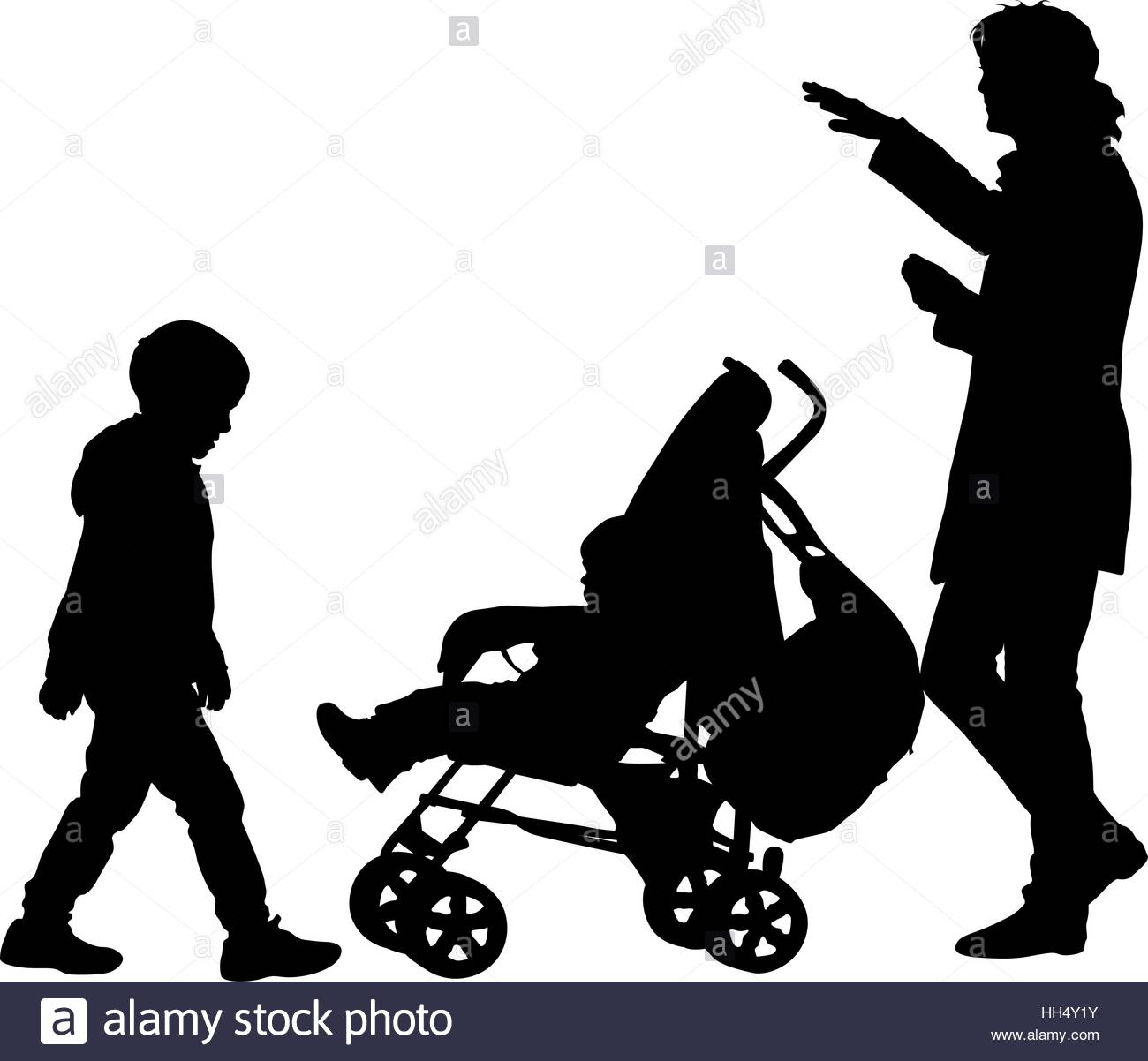 1300x1202 Black Silhouettes Family With Pram On White Background. Vector