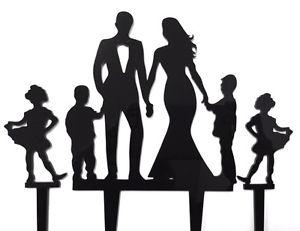 300x231 Family Bride Groom 2 Boys 2 Girls Acrylic Wedding Cake Topper