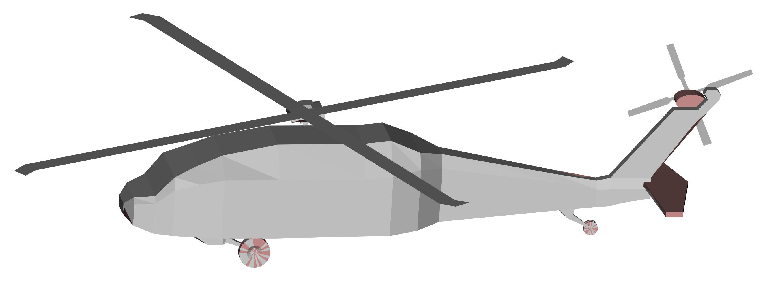 2658x975 3d Low Poly Blackhawk Helicopter Clipart