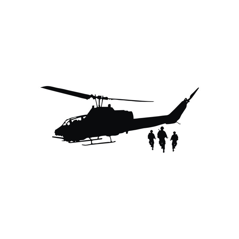 800x800 Transport Silhouette Home Decor Wall Stickers Diy Army Helicopter