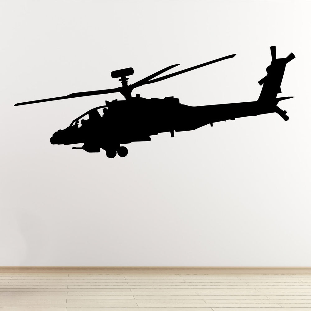 1000x1000 Apache Helicopter Wall Sticker