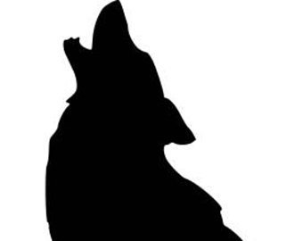 340x270 Silhouette Of Wolf. Animal Silhouette Clip Art. Howling Wolf Vinyl