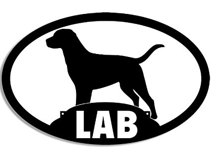 425x319 Oval Lab Silhouette Sticker (Labrador Dog Black Yellow