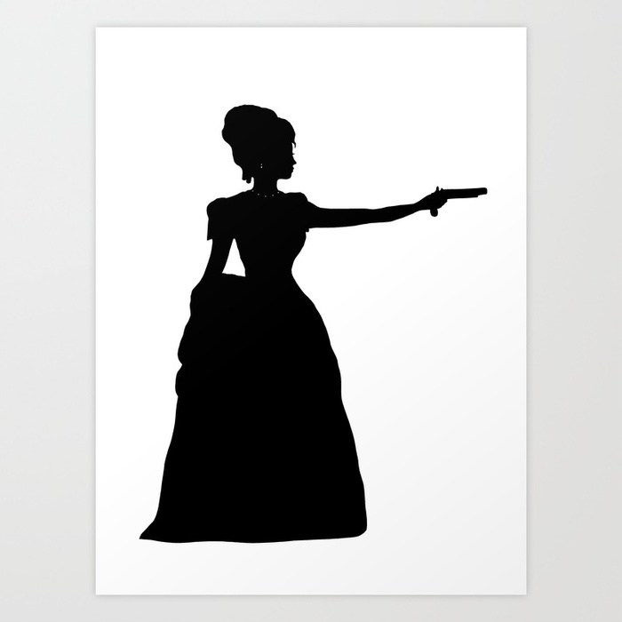 700x700 Duel Silhouette Lady Black And White Victorian Steampunk Art Print