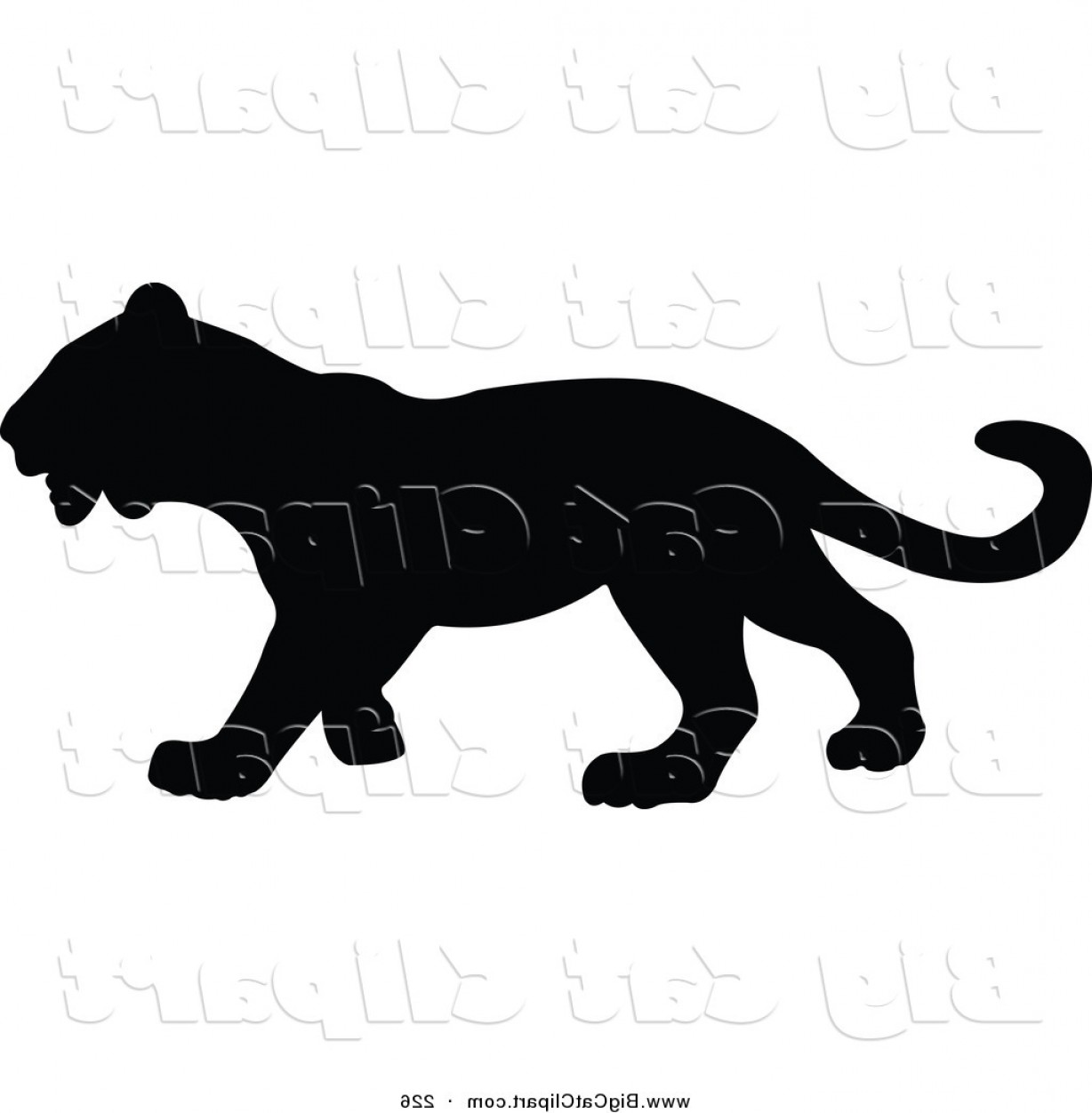 1228x1252 Big Cat Vector Clipart Of A Profiled Black Panther Silhouetted