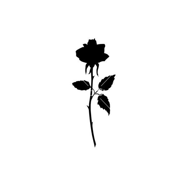 600x600 Rose Black Silhouette Vector Liked On Polyvore Featuring