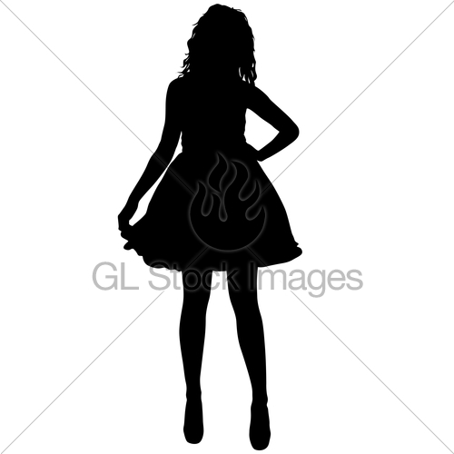 500x500 Black Silhouette Of A Beautiful Girl On A White Background Gl
