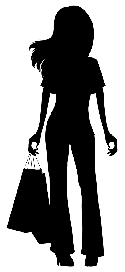 408x886 Black Silhouette Woman Shopping Bag Clipart Collection