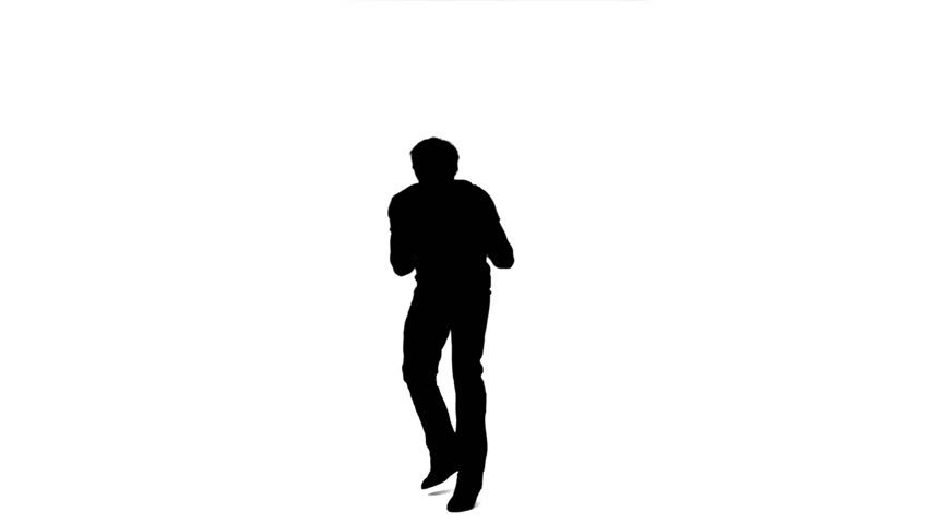 852x480 Silhouette Man Jumping In The Air In Slow Motion Against A White