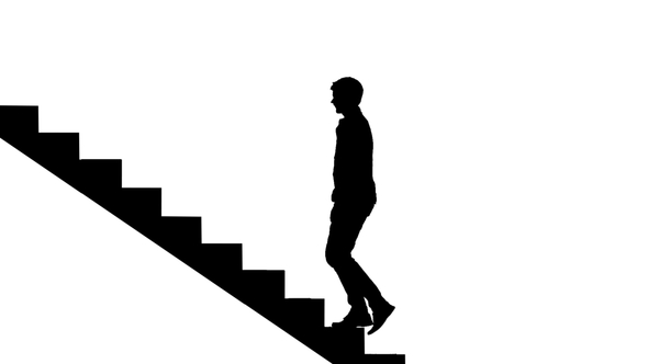 590x332 Silhouette Man Walking Stairs On White. Way To Success By Kinomaster