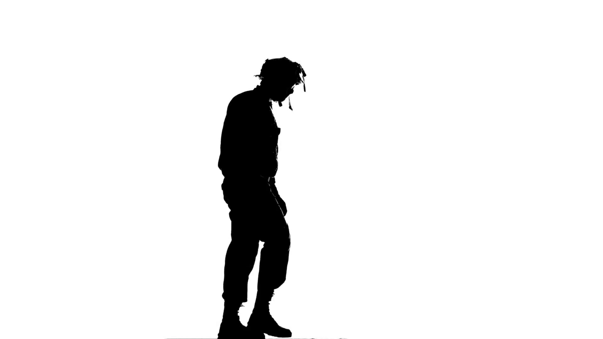 1920x1080 Man Holds A Gun In An Arm. Silhouette. White Stock Video Footage