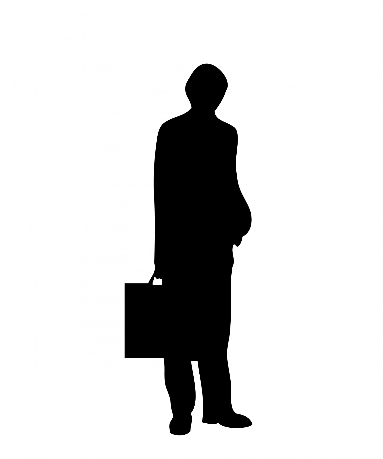 1604x1919 Man Black Silhouette Briefcase Free Stock Photo