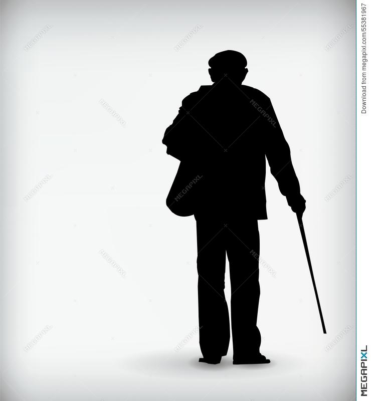 740x800 Black Silhouette Of An Old Man Vector Illustration Illustration