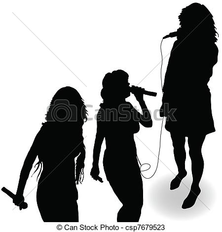 450x470 Singing Girl With A Microphone Black Silhouette. Singing