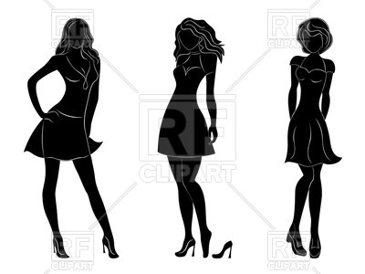 400x300 Black Silhouettes Of Slim Women In Different Dresses Royalty Free