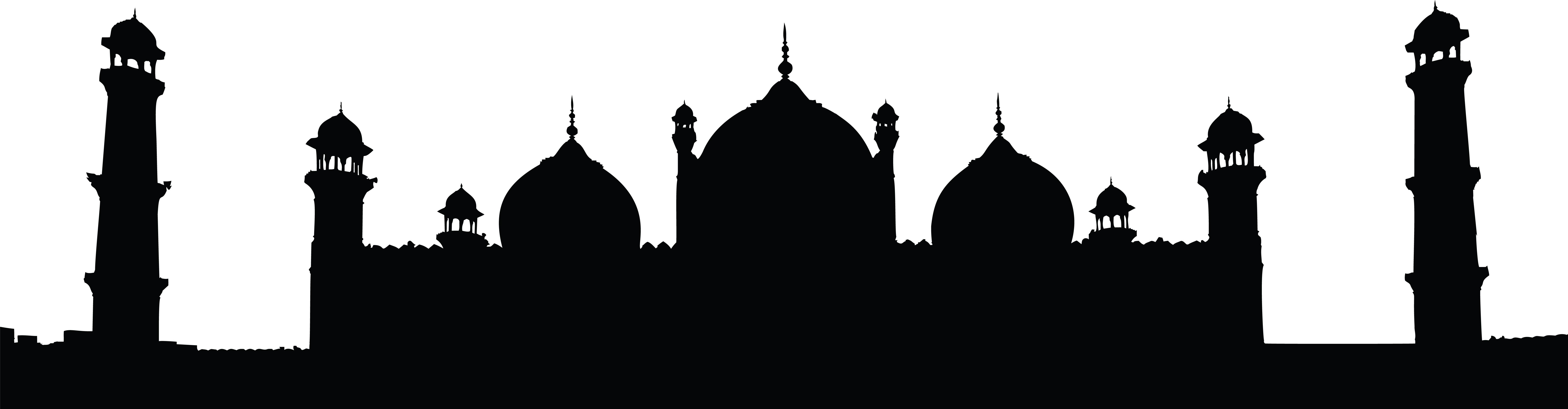 8000x2089 Clipart Of A Badshahi Mosque Lahore Pakistan Black And White