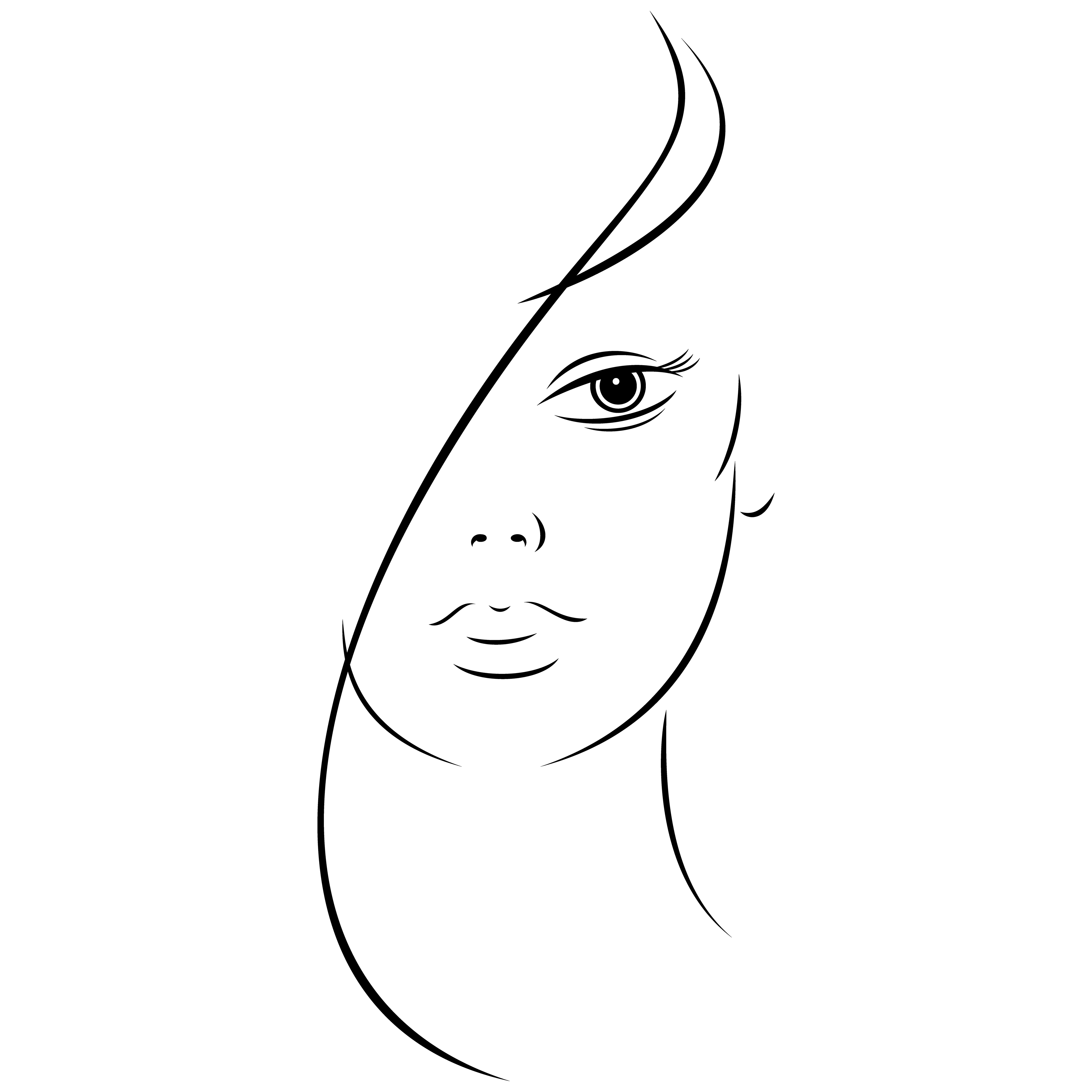 3840x3840 Free Eps Beautiful Young Woman Face Black Ink Sketch On Behance
