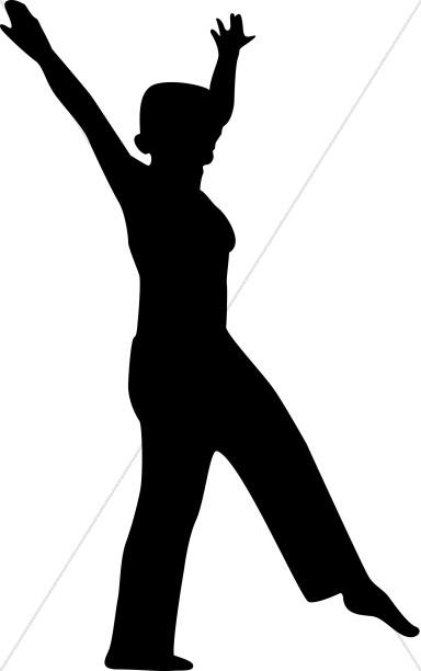 384x612 Dancing Woman Silhouette Praise Clipart