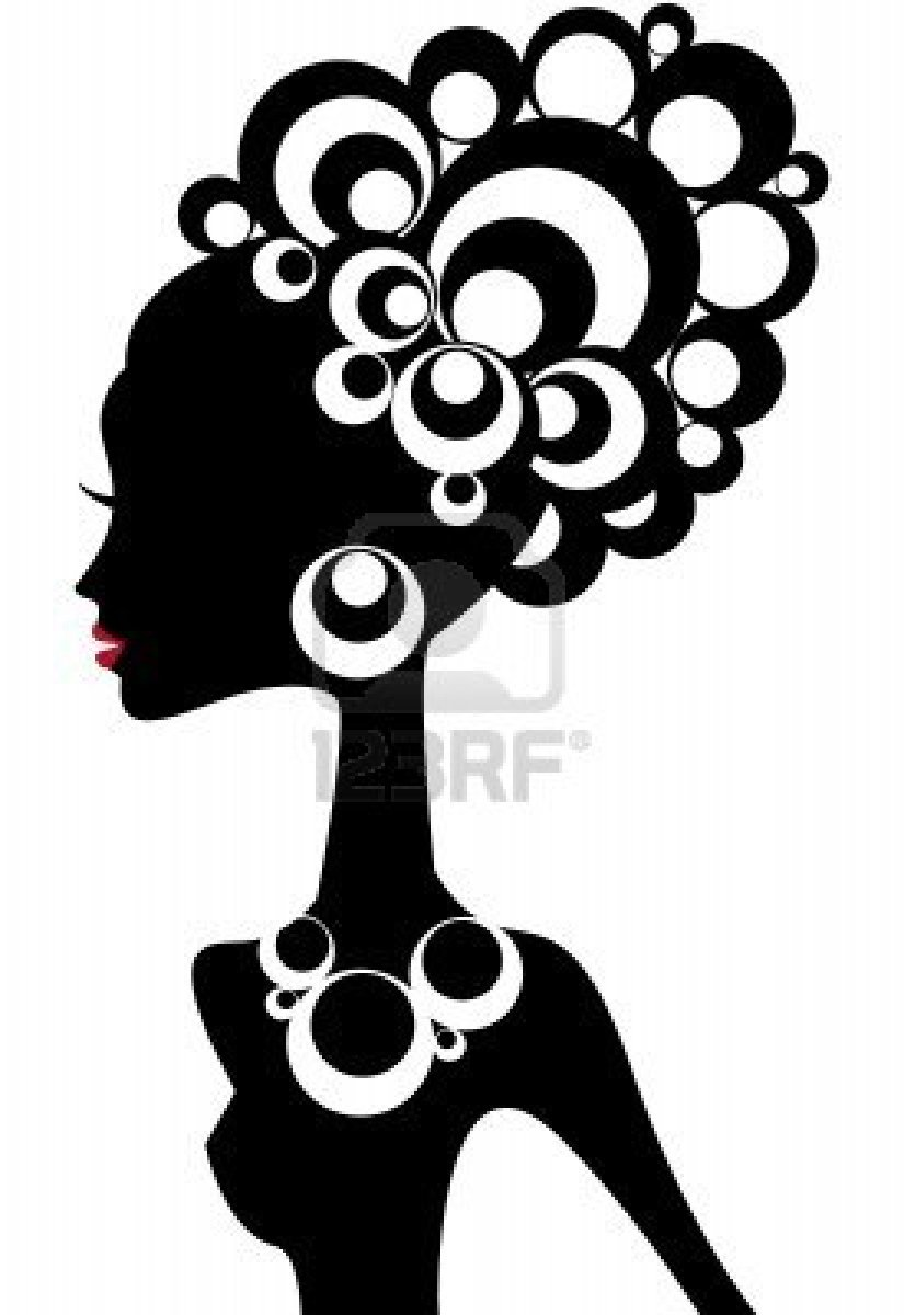 825x1200 Woman Silhouette With Black Hair Stock Photo
