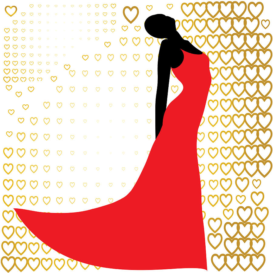 900x900 Black Silhouette Of Beautiful Woman In Red Dress Photograph By