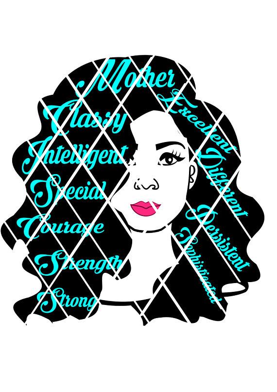 570x806 Black Woman Svgwords In Hair Svg Black Women Svgsilhouette