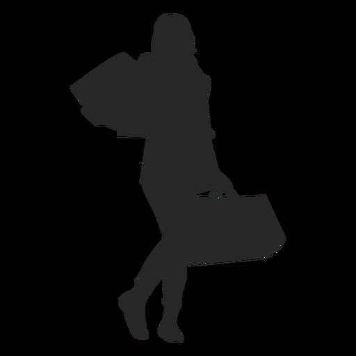 512x512 Black Silhouette Woman Purple Shopping Bag Clipart Walking Png