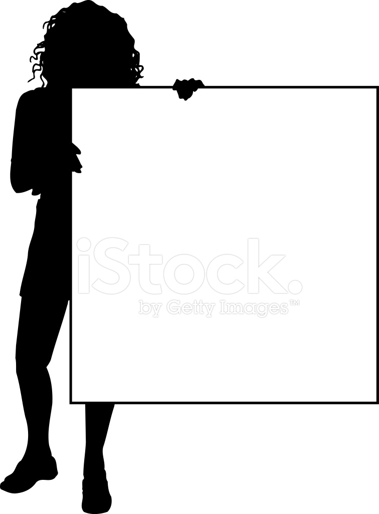 756x1024 Female Holding Blank Sign Vector Stock Vector
