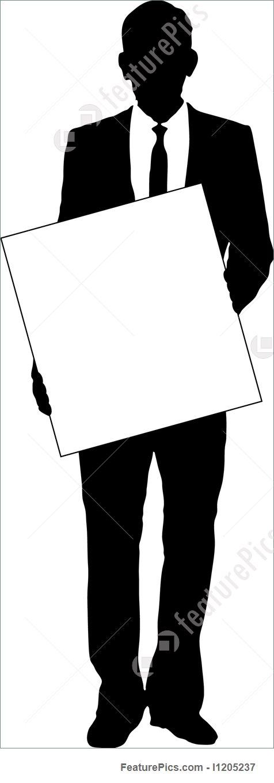 476x1360 Business Man Holding Sign Stock Illustration I1205237